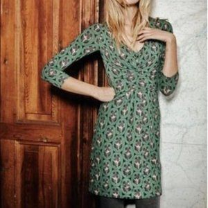 Boden Gathered Band Tunic Dress Green Jersey 8